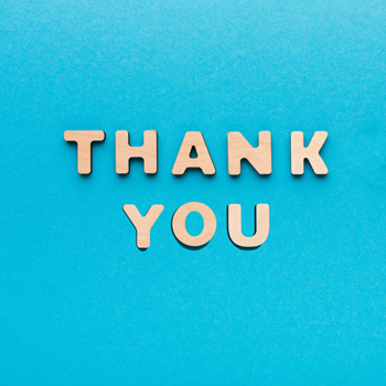 Thank you text on blue background